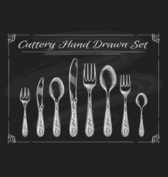 fork spoon knife on chalkboard vector image vector image