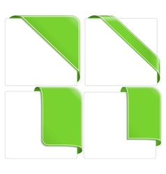 green corner ribbons vector image vector image