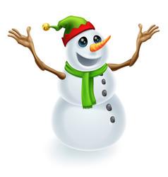 happy christmas snowman vector image vector image