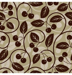 seamless cherry with leaf background vector image