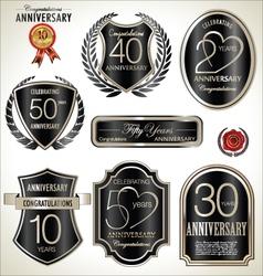 Anniversary black label set vector image vector image