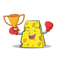Boxing cheese character cartoon style winner vector
