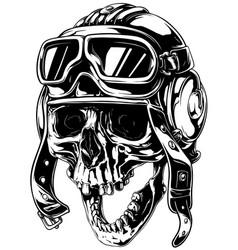 crazy smiling old human skull in aviator helmet vector image