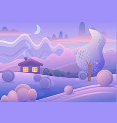 cute cartoon landscape with vector image