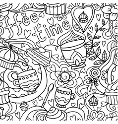 doodle seamless pattern about coffee or tea time - vector image