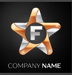 letter f logo symbol in the colorful star on black vector image