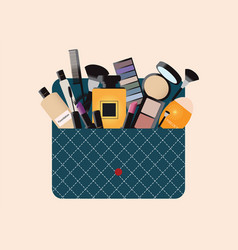 makeup cosmetics bag with accessories vector image