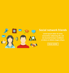 social network friends banner horizontal concept vector image vector image