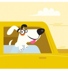 white dog travel in car vector image vector image