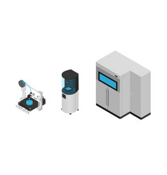 3d printer types in isometric style isolated on vector image