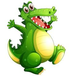 A playful green crocodile vector