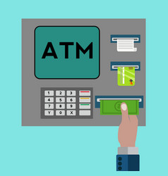 atm machine with hand withdrawing money concept vector image