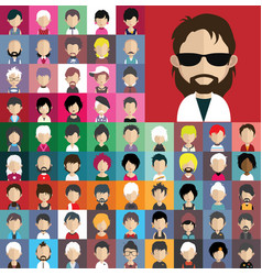 avatar collection various male and female vector image
