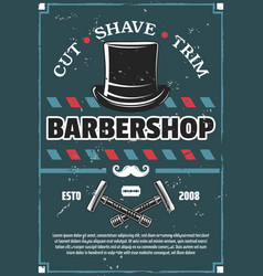 barbershop barber razor mustache and retro hat vector image