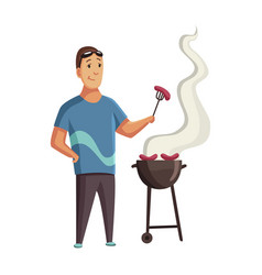 Bbq party man with a barbecue grill picnic vector