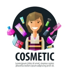 beauty salon cosmetic logo design template vector image