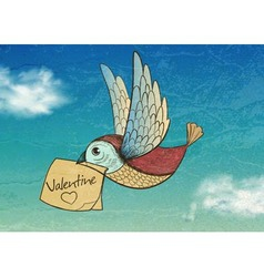 bird with valentine Invitation card vector image