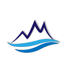 Blue mountain terrain logo icon vector