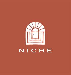 Boho niche door french curve logo icon vector