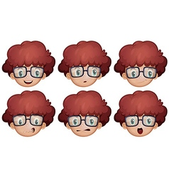 Boy with glasses having different emotions vector