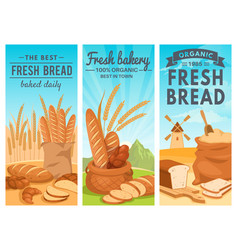 bread banners rye bread bakery shop wheat vector image