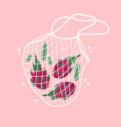 Bright dragon fruits in reusable grocery shopping vector