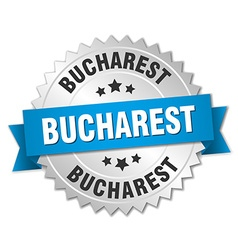 Bucharest round silver badge with blue ribbon vector