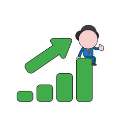 Businessman character sitting on sales bar graph vector