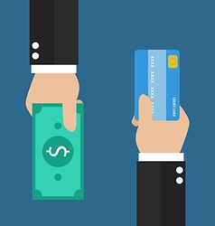 Businessman hand with credit card and cash back vector image