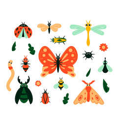 cartoon bugs garden insects and plant leave or vector image