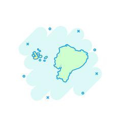 cartoon ecuador map icon in comic style ecuador vector image