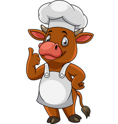 Cartoon happy cow chef giving thumbs up vector