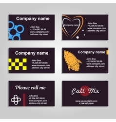Clean business card A set of six template in dark vector