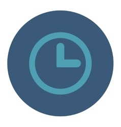 Clock flat cyan and blue colors round button vector