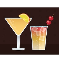 Cocktail set trendy drinks dark background vector