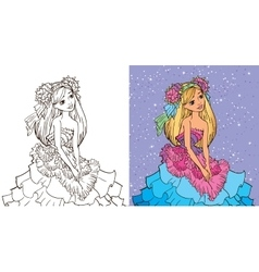 Colouring Book Of Girl In Flower Dress vector