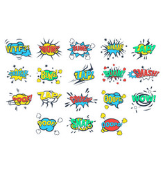 Comic bubbles with words and abbreviations sett vector