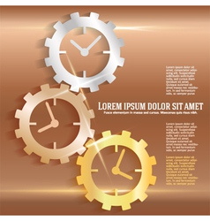 concept timeline icons clock gears on copper vector image vector image