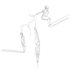 Continuous one line athlete jump in water or fall vector