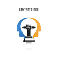 creative light bulbpencils and human heads vector image