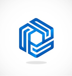 Cube geometry line 3D logo vector