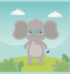 cute and little elephant in field vector image
