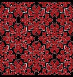 damask vintage love hearts seamless pattern black vector image