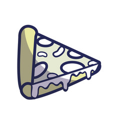 Delicious pizza fast food icon vector