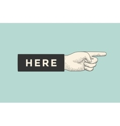 Drawing of hand sign with pointing finger in vector