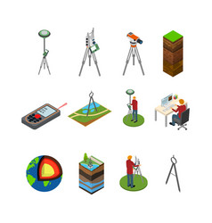 Earth exploration concept icon 3d isometric view vector