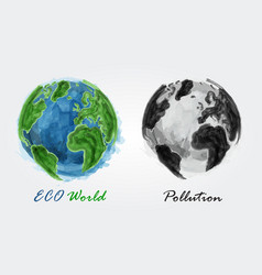 eco world and pollution watercolor painting vector image