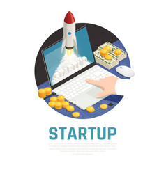 Entrepreneur start up isometric composition vector
