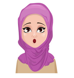 Face expression of arabic woman - surprised vector