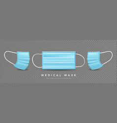 face mask medical blue template front and side vector image